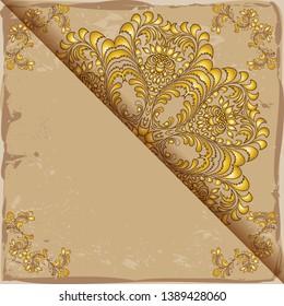Vintage floral background, victorian old paper gold ornament pattern, menu for your bisness raster