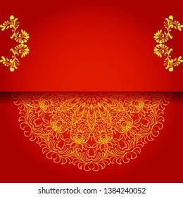 vintage floral background, victorian red gold ornament pattern, menu for your bisness raster
