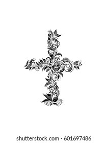 Vintage floral cross (black and white)