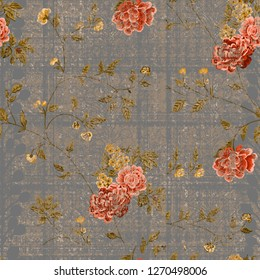 Vintage floral pattern old effect painting allover textures watercolour seamless. Roses and leaves craft backdrop beauty retro design artistic print. Trendy color red  orange  on a rough textures