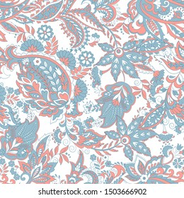 vintage floral seamless patten with paisley ornament