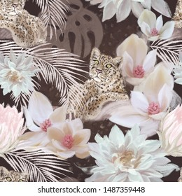 Vintage floral seamless pattern. Wildlife. cheetah animal with flowers and palm leaves on brown luxury background. Textile, fabric, fashion surface design