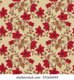 Vintage floral seamless with red flower