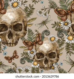 Vintage floral skull seamless pattern with moth, chamomile and fern. Mystery skull engraving hand-drawn texture on beige background