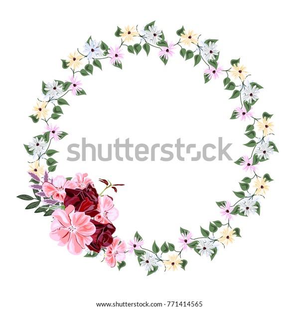 Vintage Floral Wreath Simple Wildflowers Roses Stock