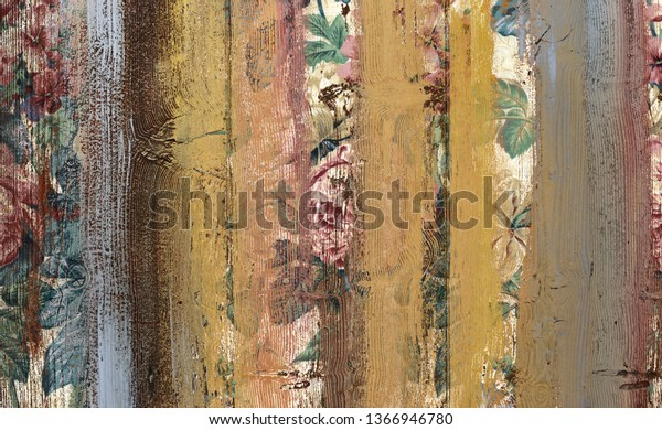 Vintage flowers colorful wood wall texture background , grungy painted wood texture as background