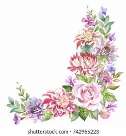 vintage flowers corner.watercolor