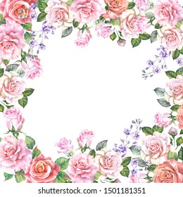 vintage flowers frame with watercolor roses