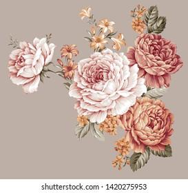 Vintage flowers  illustration.Manual composition.Set vintage elements.