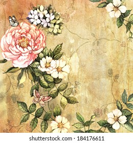 Vintage flowers on vintage background. Hand painting. Illustration for greeting cards, invitations, and other printing projects.