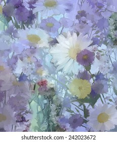 Vintage flowers painting.Daisy Flowers in soft color and blur style for background.Oil painting flowers