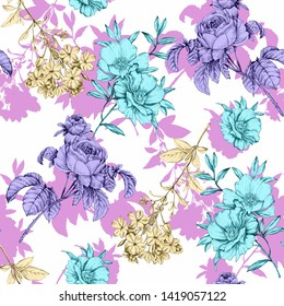 Vintage flowers sketch graphic illustration pattern