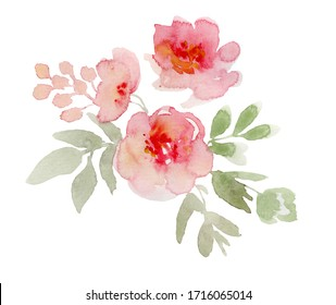 Vintage flowers watercolor illustration on white background
