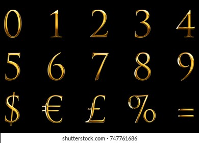 vintage font yellow gold metallic numeric letters word text series with euro, dollar, percent, equal, sterling, symbol sign on black background, concept of golden luxury number decoration text