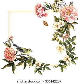Vintage frame with bird and flowers. Hand painting. Illustration for greeting cards, invitations, and other printing projects.