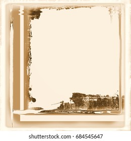 Vintage frame borders on sepia paper background.