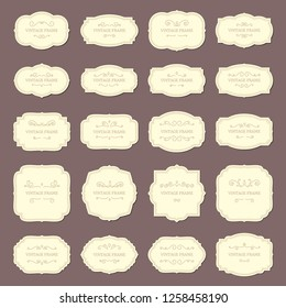 Vintage frame labels. Rectangle and oval wedding frames ribbon retro elegant sticker sign. Antique label from victorian tag store with revival border  isolated icon set
