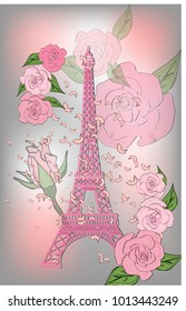 Фотообои Vintage France poster design. romantic background with Eiffel tower and roses
