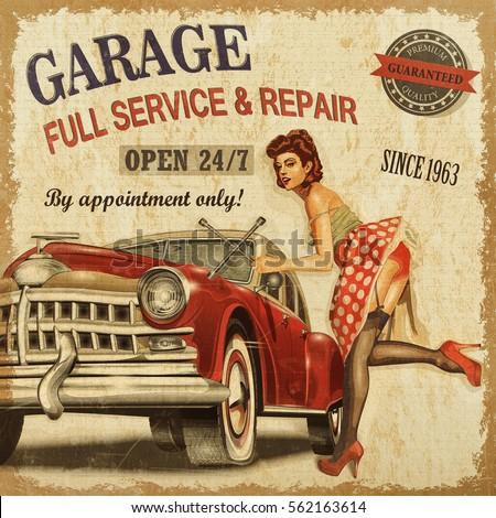vintage garage retro poster illustration de stock de. Black Bedroom Furniture Sets. Home Design Ideas