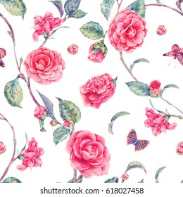Vintage garden watercolor natural seamless pattern with pink flowers camellia and butterflies, botanical illustration on white background.