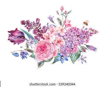 Vintage garden watercolor spring bouquet with pink flowers blooming branches of peach, pear, lilacs, tulips, scilla, roses and bee, isolated botanical illustration on white.