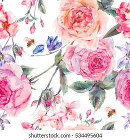 Vintage garden watercolor spring seamless background with pink flowers blooming branches of cherry, peach, pear, sakura, english roses and bee, botanical illustration.