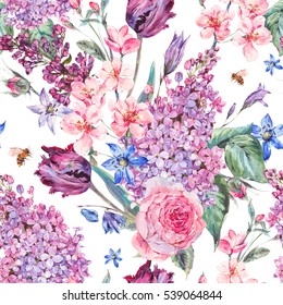 Vintage garden watercolor spring seamless background with pink flowers blooming branches of peach, pear, lilacs, tulips, scilla, roses and bee