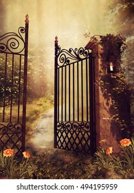 Vintage gate to an autumn garden with trees and flowers. 3D illustration.