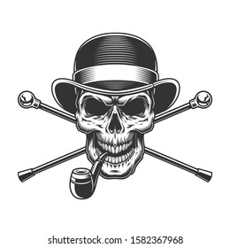 Vintage gentleman skull in fedora hat with smoking pipe and crossed walking canes isolated illustration