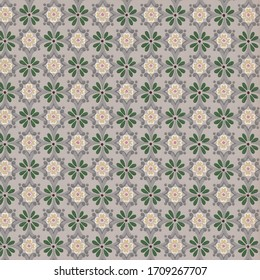 vintage geometric wallpaper, 1950s pattern from Mid Century America with gray and green design