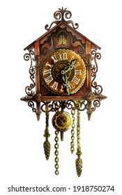 Vintage German cuckoo clock. The carved retro clock is isolated on a white background. Beautiful watercolor illustration for books and holiday cards. For design and decoration