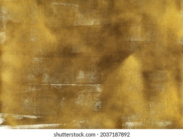 Vintage glistering gold texture. Abstract splattered paper background. Modern art with golden acrylic paint brush strokes