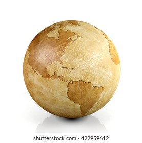 Vintage globe isolated, 3D rendering