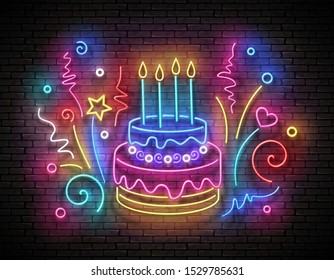Vintage Glow Signboard with Cake, Candles and Confetti. Holiday Flyer, Happy Birthday Greeting Card. Neon Light Poster, Banner, Invitation. Brick Wall. 3d Illustration