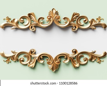 Vintage gold card with ornament decoration. 3D illustration