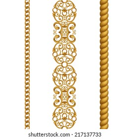 vintage gold classical seamless borders set, illustration isolated on white background