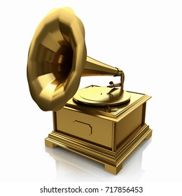Vintage gold gramophone in the design of the information related to the retro music. 3d illustration
