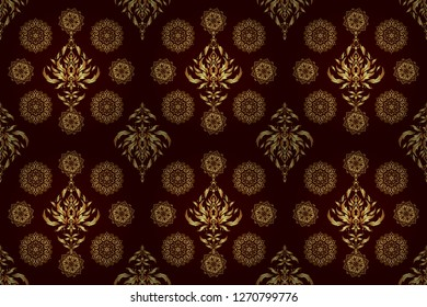 Vintage golden elements in Eastern style. Golden ornate illustration for wallpaper. Ornamental lace tracery. Traditional arabic decor on a brown background. Raster seamless pattern with gold ornament.