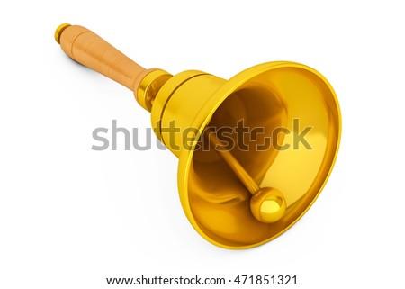 c7c564573 Vintage Golden School Bell On White Stock Illustration - Royalty ...