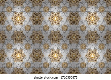 Vintage golden seamless pattern, golden floral ornament brocade textile pattern, glass pattern, gold metal with floral elements on background.