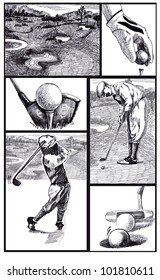 vintage golf comics - story of winning ball in the six figures