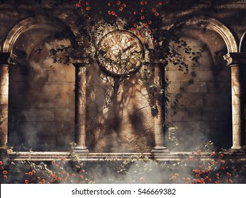 Vintage gothic arches with vines, roses, and an old clock. 3D illustration.