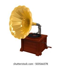 Vintage Gramophone. 3D rendering