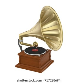 Vintage Gramophone Isolated. 3D rendering