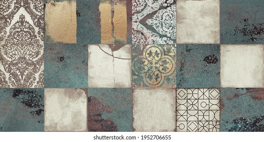 Vintage Green Mexican tiles design for ceramic