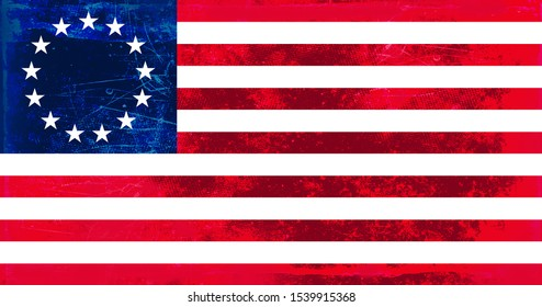 Vintage grunge old flag of the United States of America, often referred to as the American flag or U.S. flag, Also known as Betsy Ross flag. Tradional red blue white colors