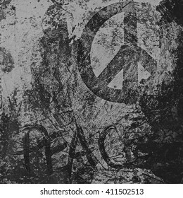 vintage grunge peace sign wall background, texture