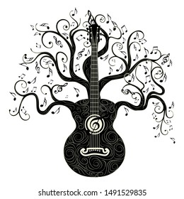 Vintage guitar silhouette with tree branches illustration.