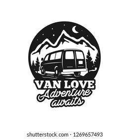 Vintage hand drawn camp logo badge. Van love - adenture awaits quote. Happy camper in mountains concept. Perfect for T-Shirt, mug, sticker. Stock emblem isolated on white background.