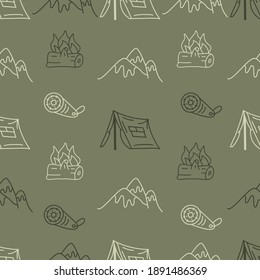 Vintage Hand drawn camping seamless pattern with retro camper, tent and mountains elements. Adventure line art graphics. Stock hiking linear background